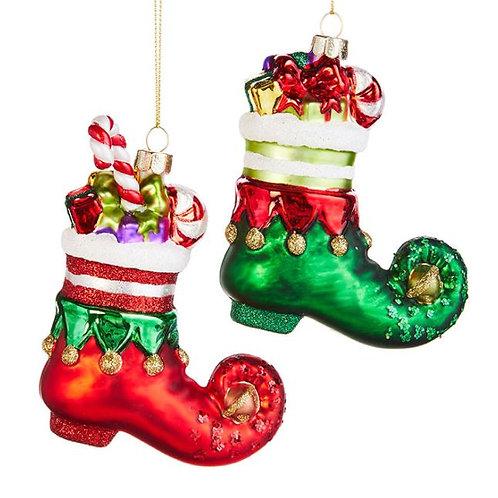 Elf Shoe Ornaments - Set Of 2