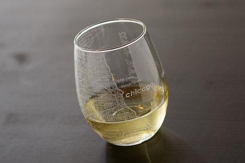 Chicago Map Wine Glass