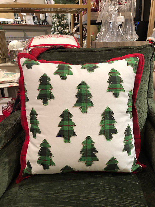 Embroidered Tree W/Plaid Pillow