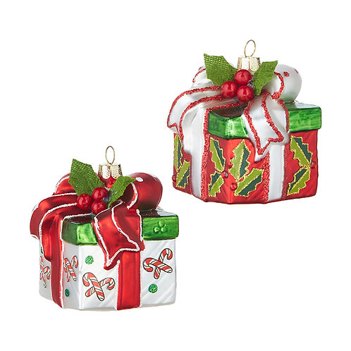 Wrapped Present Ornaments - Set of 2
