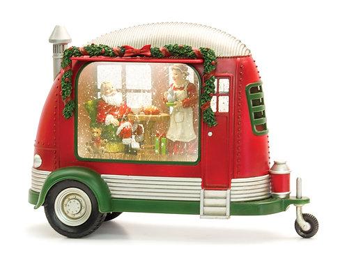 Camper Snow Globe With Santa & Mrs. Claus
