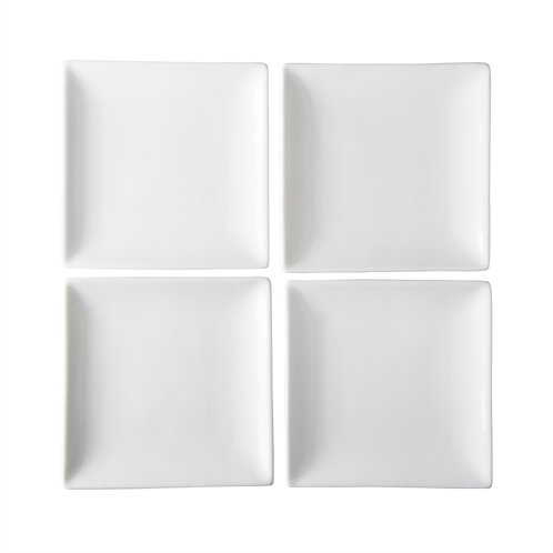 Whiteware Square Appetizer Plates - Set/4
