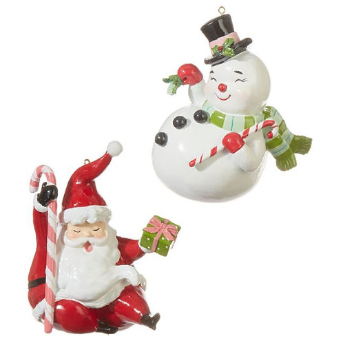 Santa & Snowman Ornaments - Set of 2