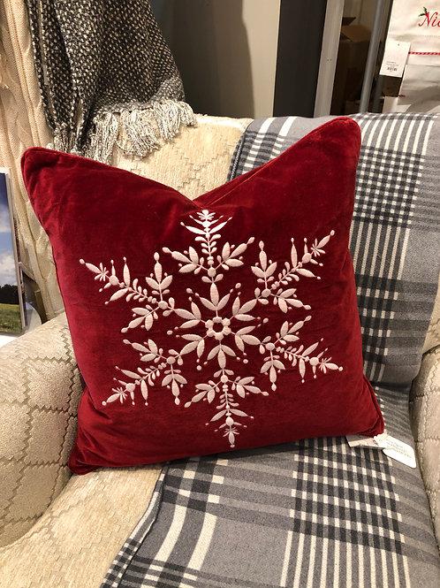Red Velvet W/Snowflake Pillows