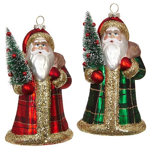 Plaid Santa Ornaments - Set Of 2