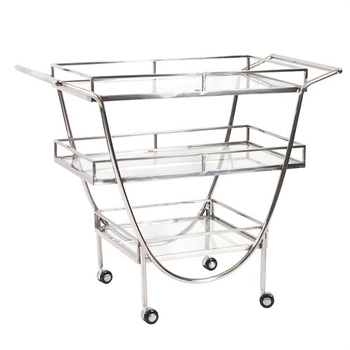 Stainless Steel Bar Cart  With Casters
