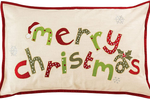 Merry Christmas Embroidered Lumbar Pillow