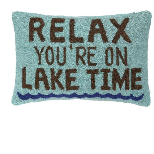 Relax You Are On Lake Time Hooked Pillow