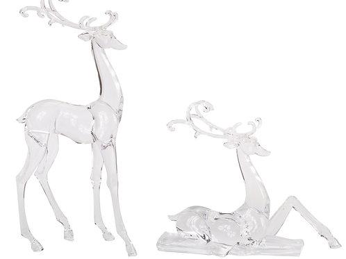 Acrylic Deer  Figurines - Set Of 2