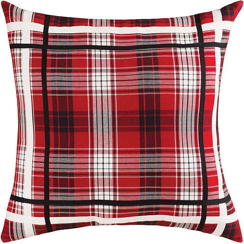 "22"" Square Plaid W/Trim Pillow"