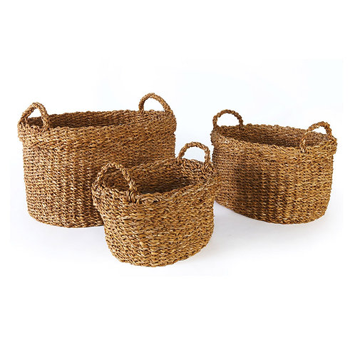 SEAGRASS OVAL BASKETS WITH HANDLES & CUFFS, SET OF 3