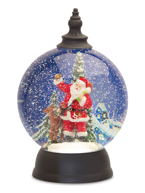 Santa Snow Globe With Deer