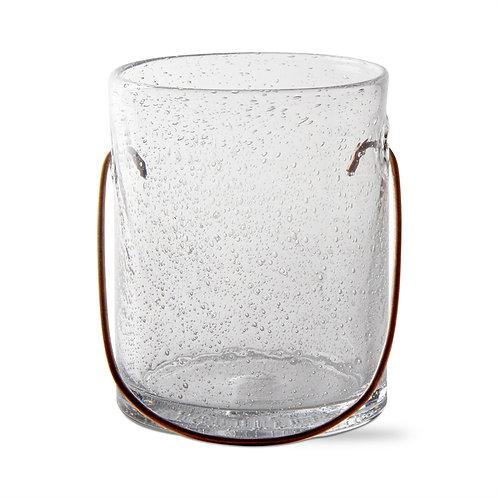 Small Bubble Glass Hurricane W/Copper Handle
