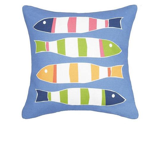 Blue Picket Fish Pillow
