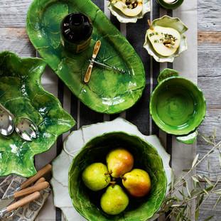 Vietri's Foglia Grape Leaf Stoneware