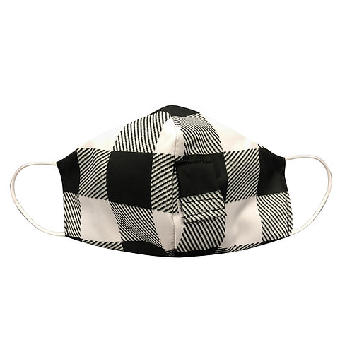 White & Black Buffalo Plaid Happy Hour Mask