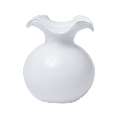 Vietri White Glass Hibiscus Small Vase