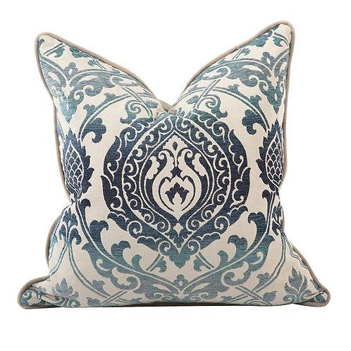 """Blue 20"""" Damask Velvet Pillows"""