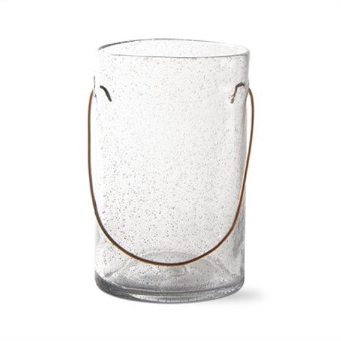 Large Bubble Glass Hurricane W/Copper Handle