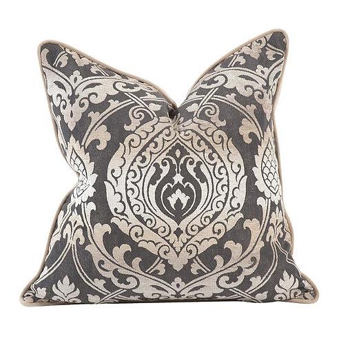 "Brown 20"" Damask Pillow"