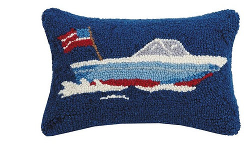 Speed Boat Hooked Pillow