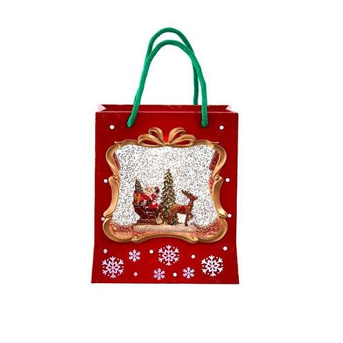 Shopping Bag Snow Globe With Santa