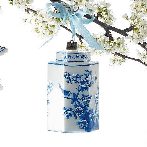 Chinoiserie Hexagon Jar Ornament