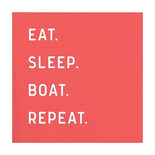 Slant Eat Sleep Boat Repeat Cocktail Napkins