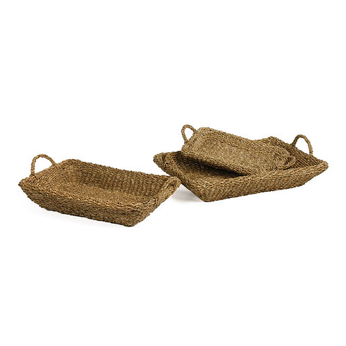 SEAGRASS TRAYS WITH HANDLES, SET OF 3