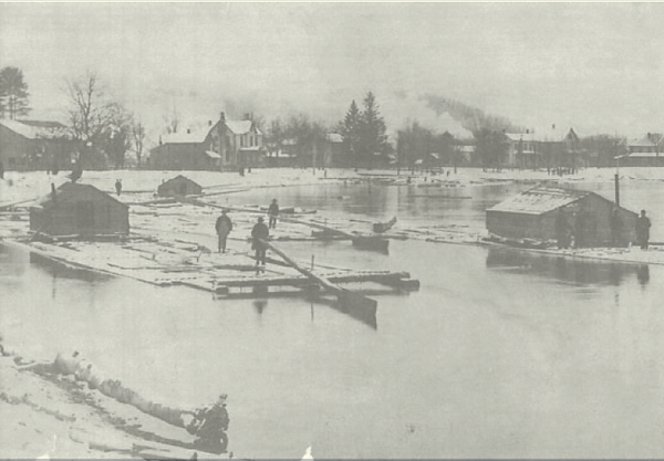 Photo of Susquehanna River Logging barges in 1800's