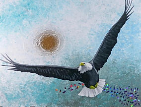 painting by Hanzer titled Eagle High