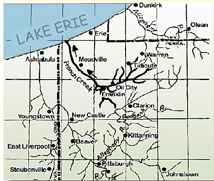 Map of Rivers flowing north into lake Erie