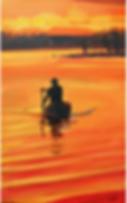 canoe paddler in sunset on a lake
