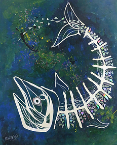 painting by Hanzer titles Fishbone