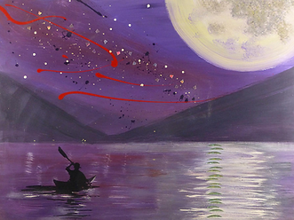 A fine art painting by Hanzer Titled Alleghey Moon