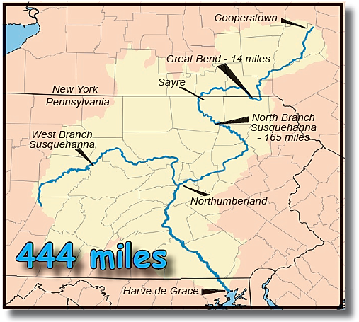Map of Susquehanna River in Pennsylvania