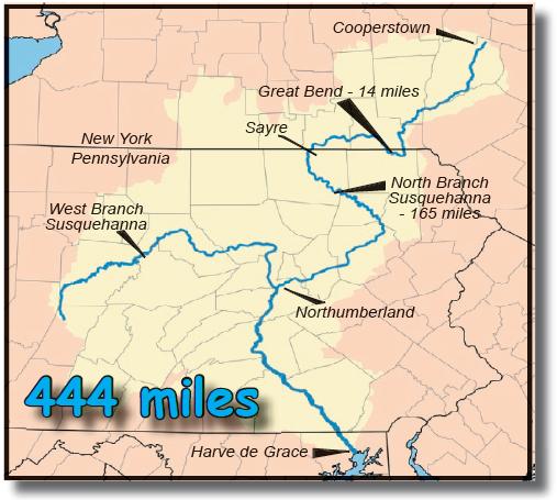 Map of Susquehanna River in Pennsylvania