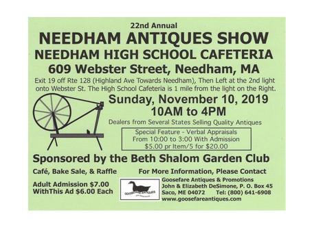 Needham Antiques Show sponsored by Beth Shalom Garden Club