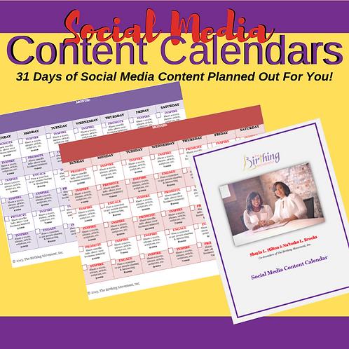 Social Media Content Calendar + Graphics