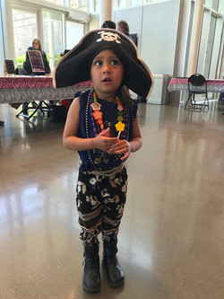 Sylvia shows off her pirate costume