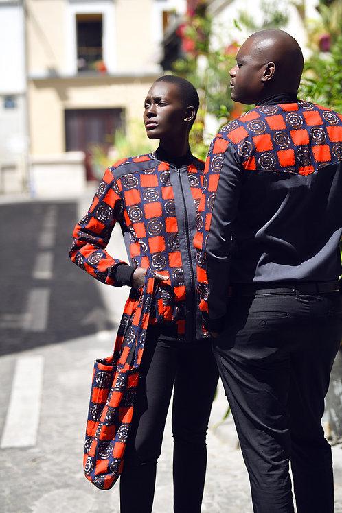 Blouson-F-wax-carrés&noir