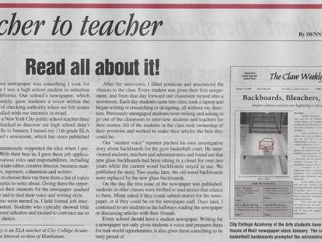 Op-Ed in The New York Teacher