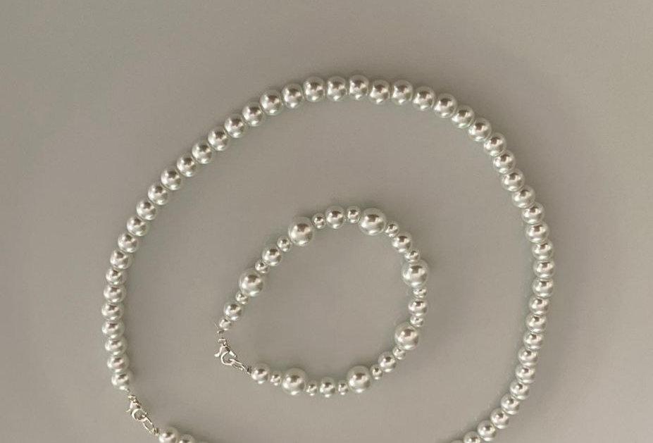 Set de Collar y Pulsera de Perlas - por Regina Islas