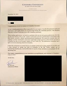 Columbia University Acceptance Letter