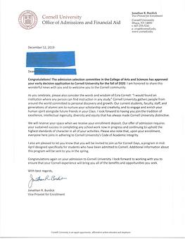 Cornell University Acceptance Letter