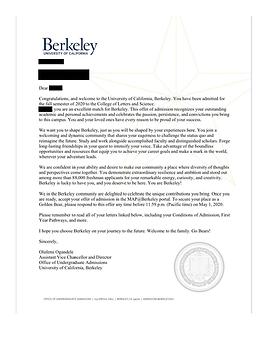 UC Berkeley Acceptance Letter