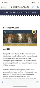 University of Notre Dame Admit Letter.pn