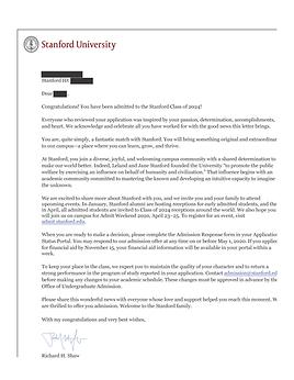 Stanford University Acceptance Letter