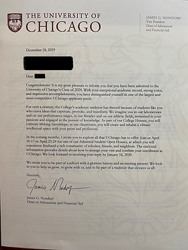 University of Chicago Acceptance Letter
