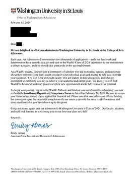 WUSTL Acceptance Letter